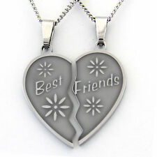 Best Friends Two Piece Heart Pendant Stainless Steel Necklace