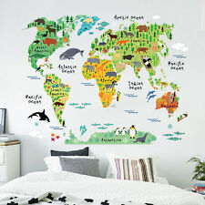 Removable Animal World Map Wall Decal Art Sticker Kids Nursery Art Mural Decor