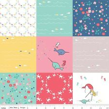 Saltwater 4 inch Square Patchwork print BT Yard fabric Cinderberry Pink white