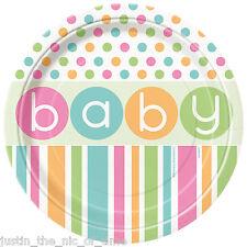 """Baby Shower Unisex forniture Festa Stoviglie Ragazza o Ragazzo Plate 9"""" piatti di carta x8"""