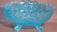 """Vitg  LG Wright Blue Daisy & Button 10&1/2"""" oval 4 footed Large Bowl. Deppresion"""