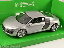 AUDI R8 V10 in Silver 1/24 scale model by WELLY