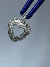 Vintage Heart Pendant In 14k White Gold, .75 ctw Round And Baguette cut Diamonds