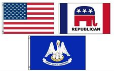 3x5 American & Republican & State of Louisiana Wholesale Set Flag 3'x5'