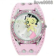 Rose Cristal Betty sexy woman Boop wriste Montre fille dame FZ93P
