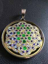 Tree Of Life On Flower Of Life 1 5/8 Pendant Black Tourmaline Gemstone Spiritual