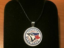 ADJUSTABLE NECKLACE WITH BLUE JAYS BASEBALL TEAM LOGO IN CAP PENDANT