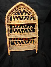 "Miniature Wicker Shelving unit Eterge Large Doll House Natural Color 8-1/8"" H"