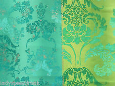 Designers Guild Curtain Fabric KASHGAR 1.55m Jade - 100% Cotton Damask 155cm