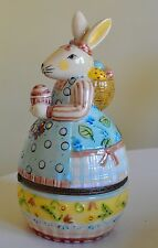 VILLEROY & BOCH RABBIT BUNNY EASTER EGG SHAPED TRINKET BOX YELLOW METAL FASTENER