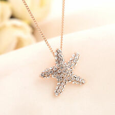 18K Rose Gold Filled SWAROVSKI Crystal Starfish Pendant Necklace Ocean Star Gift