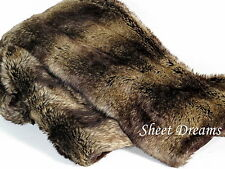 "Tahari Home Faux Fur Chinchilla Throw Blanket 50"" x 60"" New Tags"