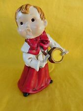 """DRUMMER BOY Christmas Figurine 9"""" tall with Red Bow - Ceramic"""