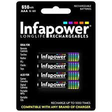 4 Pcs Pack Infapower B001 Rechargeable AAA Ni-MH Batteries 650mAh - Brand New