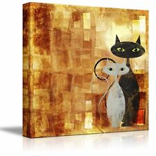 "Canvas Prints Wall Art - Black and White Cat on Orange Grunge Canvas- 12"" x 12"""