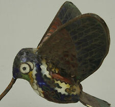 China Collectible Old Handwork Carving Painting Cloisonne Hummingbird Statue