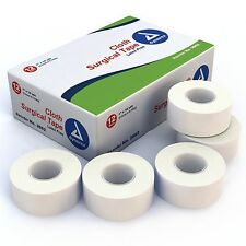 """12 Cloth Surgical Tape Rolls 1""""x10 yards White Hypoallergenic Dynarex IV 3562"""