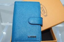 Tod's Men's Credit Card Case Wallet Med Blue CC Holder Leather Luxury NWT