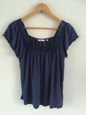 New Look Blue Top T Shirt Ruffled Sleeve Detailed Size 12  R1338
