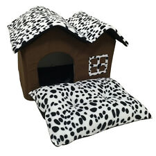 Indoor Dog House Double Room Dog Kennel Pet Puppy Cat Bed House Winter Warm