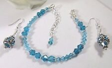 Bracelet and Earrings Adorned with Zircon Blue and Sky Blue Swarovski Crystals