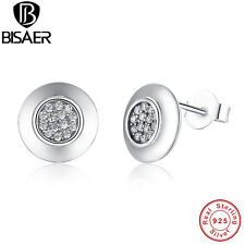 925 Sterling Silver Studs Earrings With Round Clear CZ For Women Fashion Jewelry