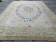 Hand Made Old European Savonnerie Design Wool Grey Green Large Carpet 448x335cm