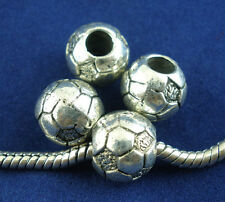 20Pcs Silver Tone Football & Soccer Spacer European Beads Fit Charms Bracelets