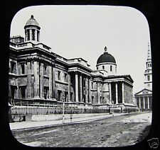 VICTORIAN Glass Magic Lantern Slide THE NATIONAL GALLERY LONDON C1890 ENGLAND .