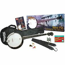 New Washburn B8K Banjo Pack Complete 5-String Beginner Bluegrass Package Bundle