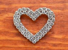 Hollow Heart Swarovski Element Crystal Bridal Party Dressy Brooch Pin Blazer