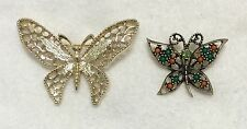 Two Sarah Coventry Butterfly Brooches Signed