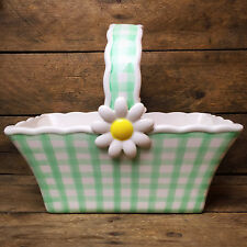 Teleflora Ceramic Basket Daisy with mint green gingham design