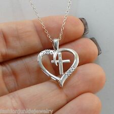 Cross in Heart Necklace - 925 Sterling Silver CZ - Cross Faith Jewelry NEW
