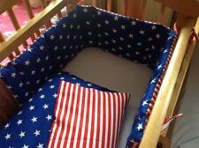 Cushi cots boys swing crib bumper and duvet set Stars and Stripes new