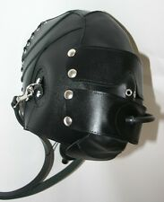 Leather Hood with Inflatable Latex Mouthpiece and Leash adjustable fits M to XL