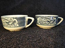 Currier Ives Royal China Blue and White Cup TWO MINT!