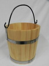 Big Wooden Bucket with metal ringd and handle 6l - old style very solid NEW