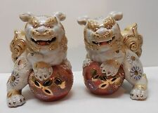 Porcelain Foo Dog Yin Yang with Ball White and Beige Gold Accents Vintage Set 2