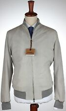 NWT BARBA NAPOLI suede BOMBER jacket leather grey luxury Italy eu 50 us M