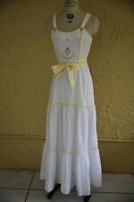 Vtg 60s 70s White Dress Maxi Dress Sundress Young Edwardian Embroidered Floral