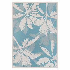 "8x11 (7'6"" x 10'9"") Tropical Coastal Palm Aqua Blue Indoor Outdoor Area Rug"