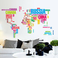 World Map Letter Quote Removable Vinyl Decal Art Mural Wall Stickers Home Decor
