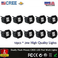 10x Dually Flush Mount 24W CREE Flood LED Pod Work Lights 4x4 OffRoad Jeep