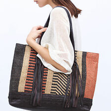 ZARA WOMAN LEATHER FRINGE TASSEL WOVEN NAVAJO FABRIC SHOPPER TOTE BAG!