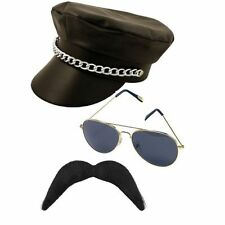 YMCA gay Village People Biker three piece set- hat moustache and glasses.