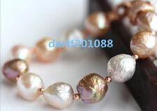 12mm  genuine south seas multicolor kasumi pearl bracelet 7.5-8inch