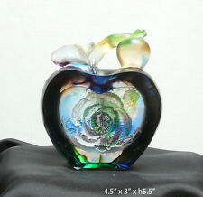 Chinese Liuli Crystal Glass pate-de-verre  Rose Apple Paperweight Figure vs733