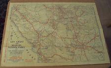 "1936 CA Auto Club MAP~""Gen Grant/Sequoia Natl Parks""~VALLEY/COAST Connections~"