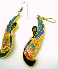 Vintage Cloisonne Swan Bird Earrings Pierced Wire Gold Inlay Black Head Feathers